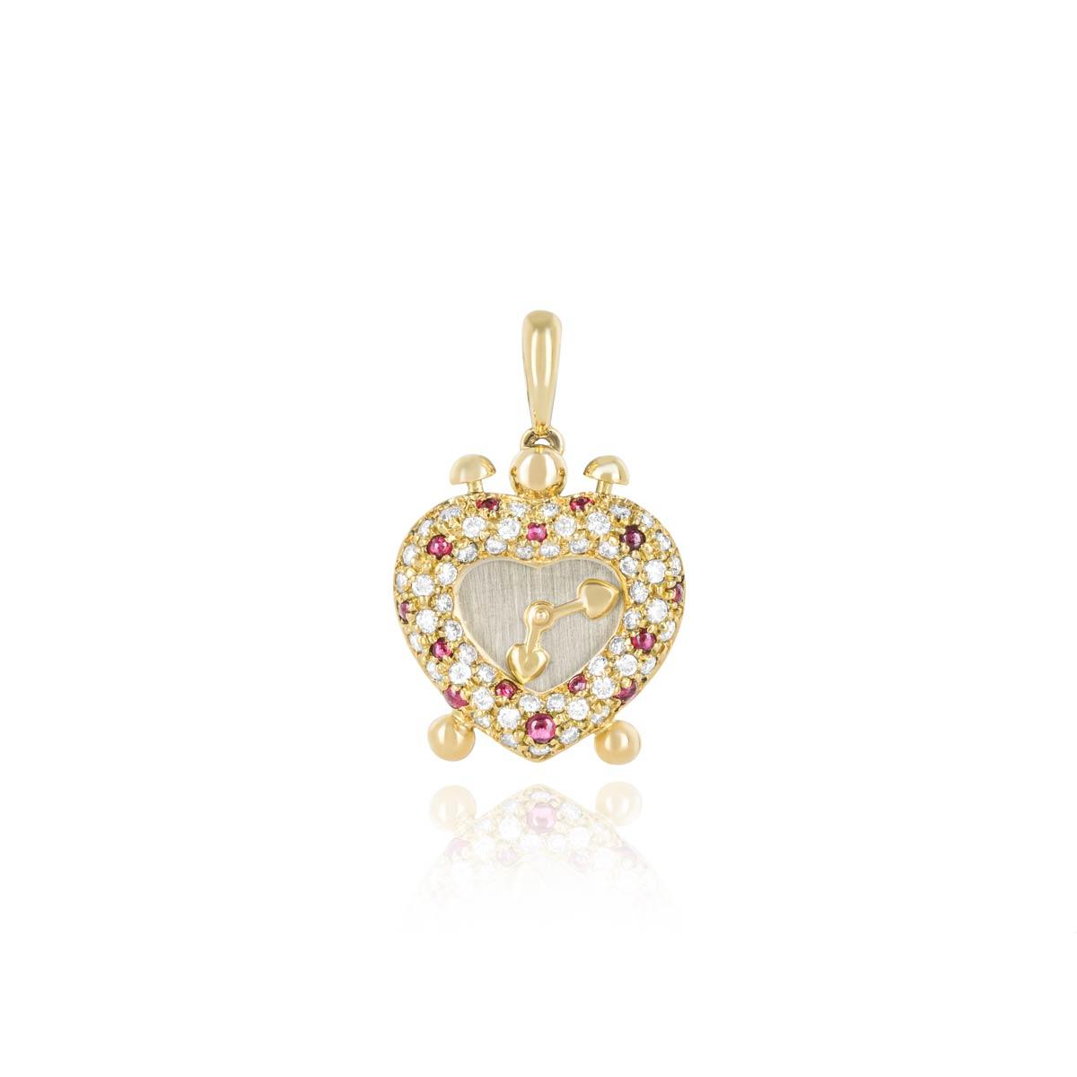 Yellow Gold Diamond and Ruby Heart Clock Pendant